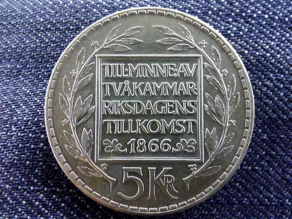 Svédország A kétkamarás alkotmányos reform 100. évfordulója .400 ezüst 5 Korona 1966 U