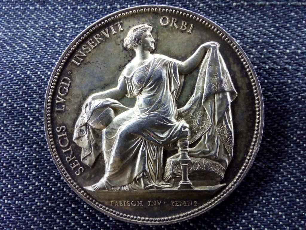 Lyoni selyemszövés gyönyörű ezüst emlékérem 1860