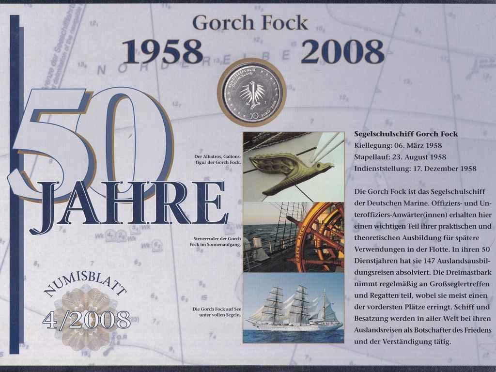 Németország 50 éves a Gorch Fock .925 ezüst 10 Euro + Bélyeg 2008 J PP