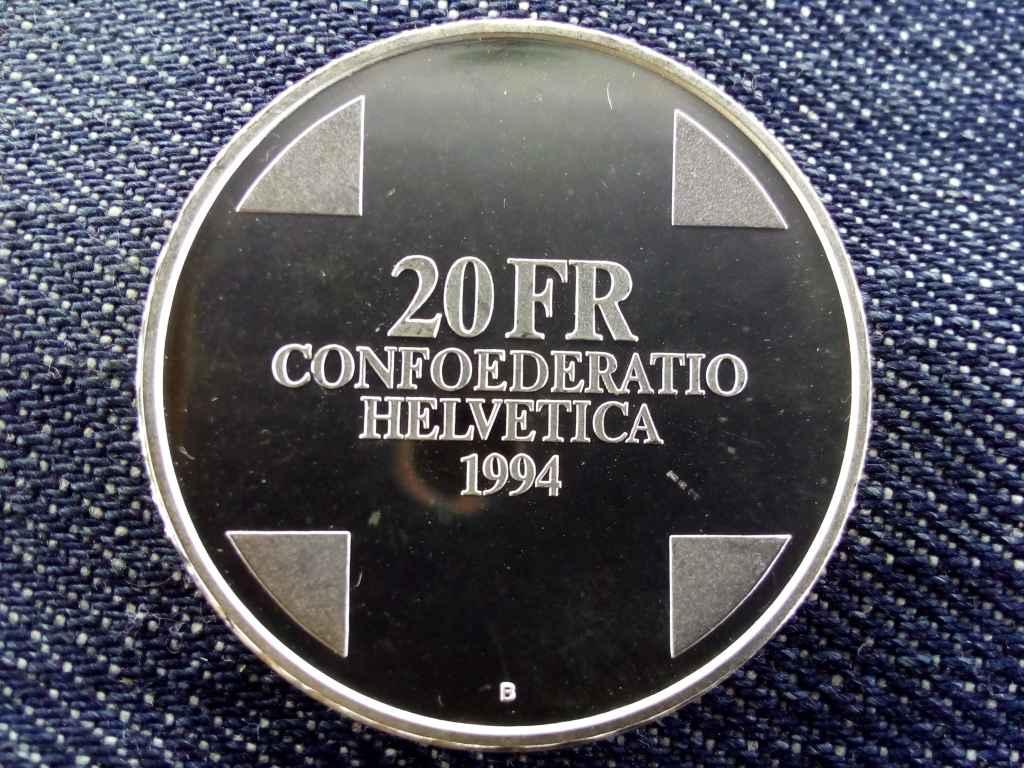 Svájc Ördög-hid .835 ezüst 20 Frank 1994 B PP