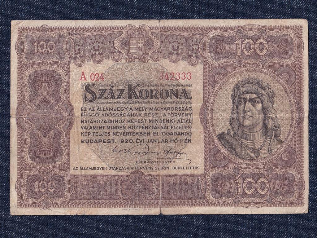 Nagyméretű Korona Államjegyek 100 Korona bankjegy 1920