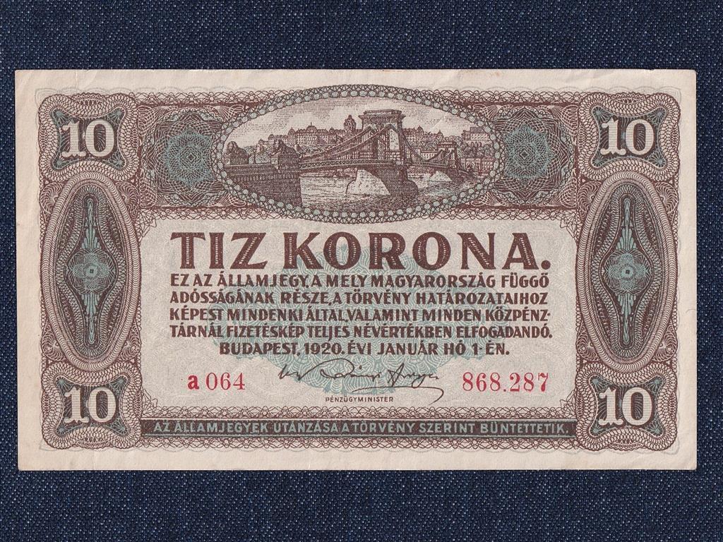 Kis címletű Korona államjegyek 10 Korona bankjegy 1920
