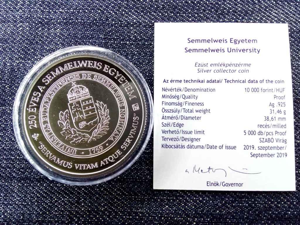 Semmelweis Egyetem alapításának 250. évf. .925 ezüst 10000 Forint 2019 BP PP