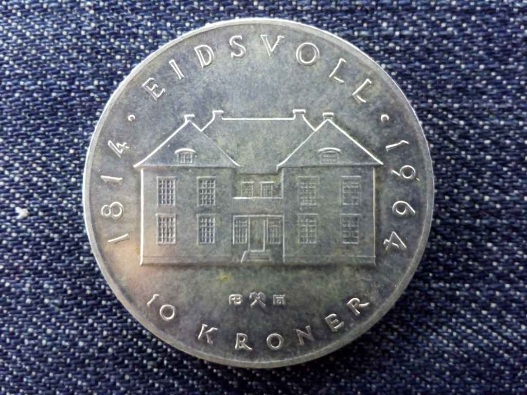Norvégia V. Olav .900 ezüst 10 Korona 1964