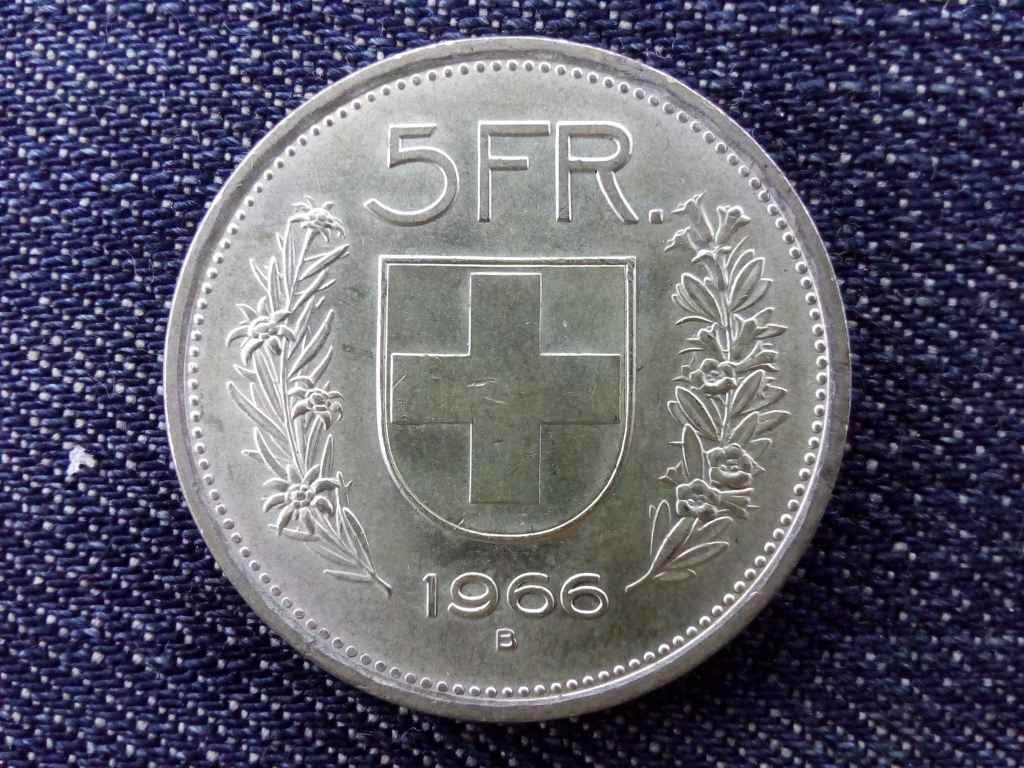 Svájc .835 ezüst 5 Frank 1966 B
