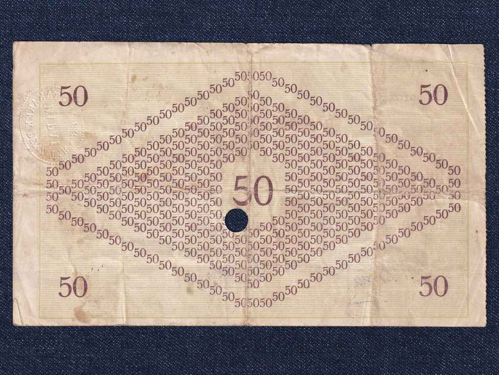 Magyarország Csekk 50 Koronáról 1919 Pápa szükségpénz E sorozat 1919