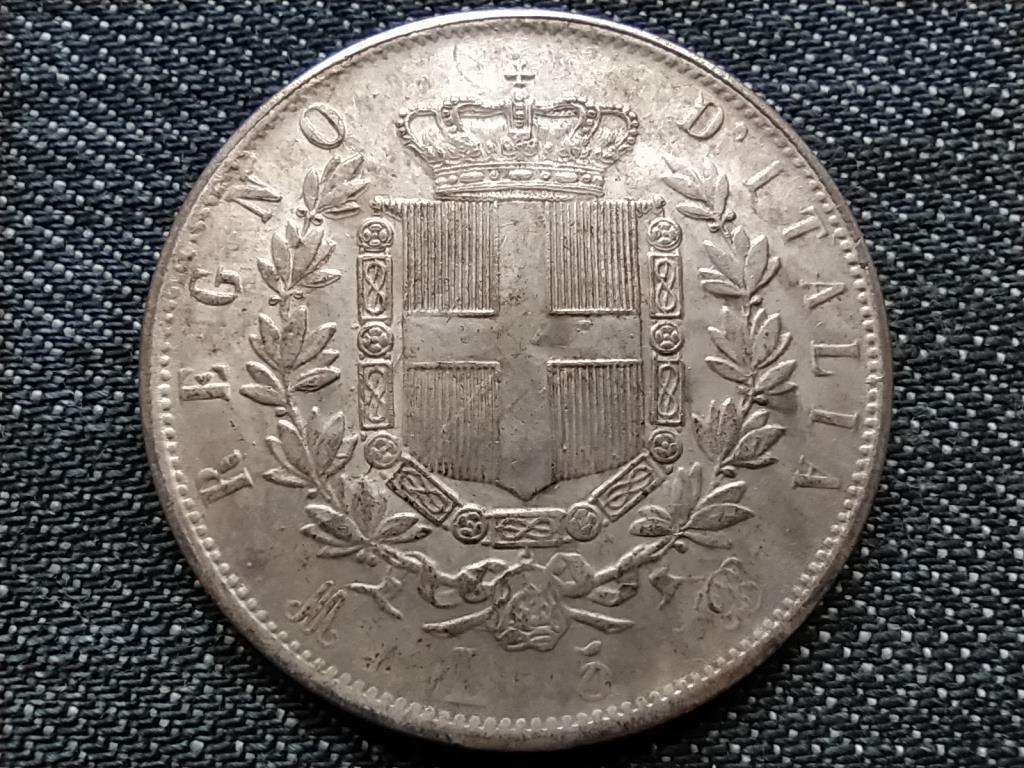 Olasz 5 Líra 1873 Vittorio Emanuelle érme másolat