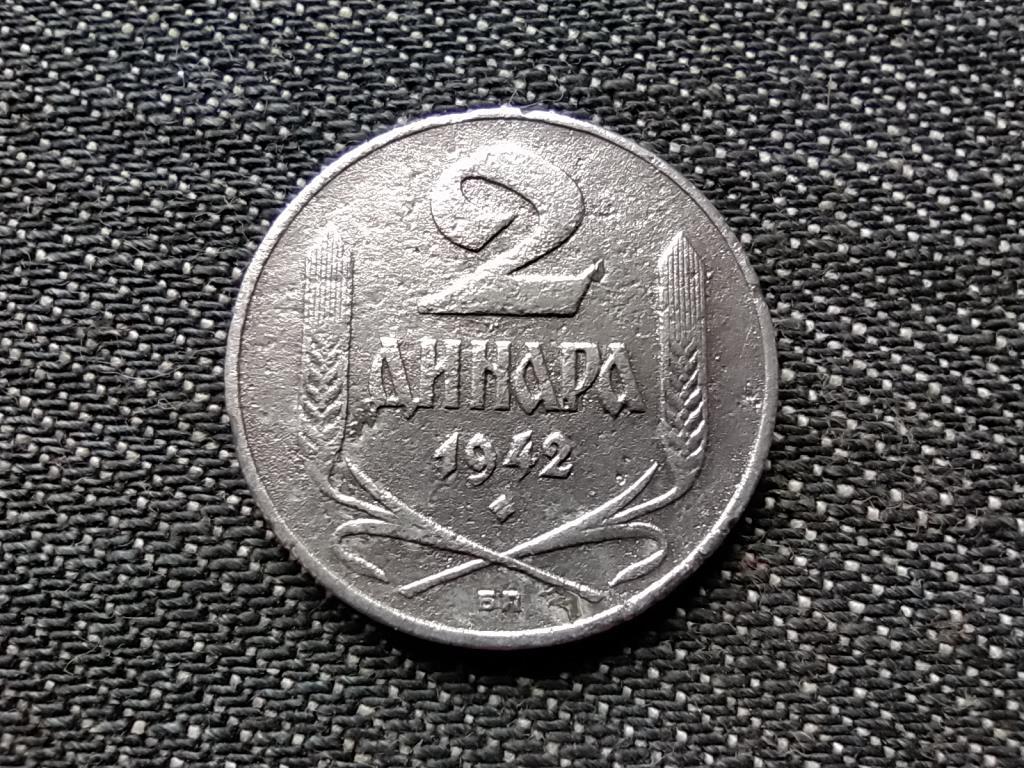 Szerbia II. VH Német megszállás nagyon szép 2 dínár 1942 БП