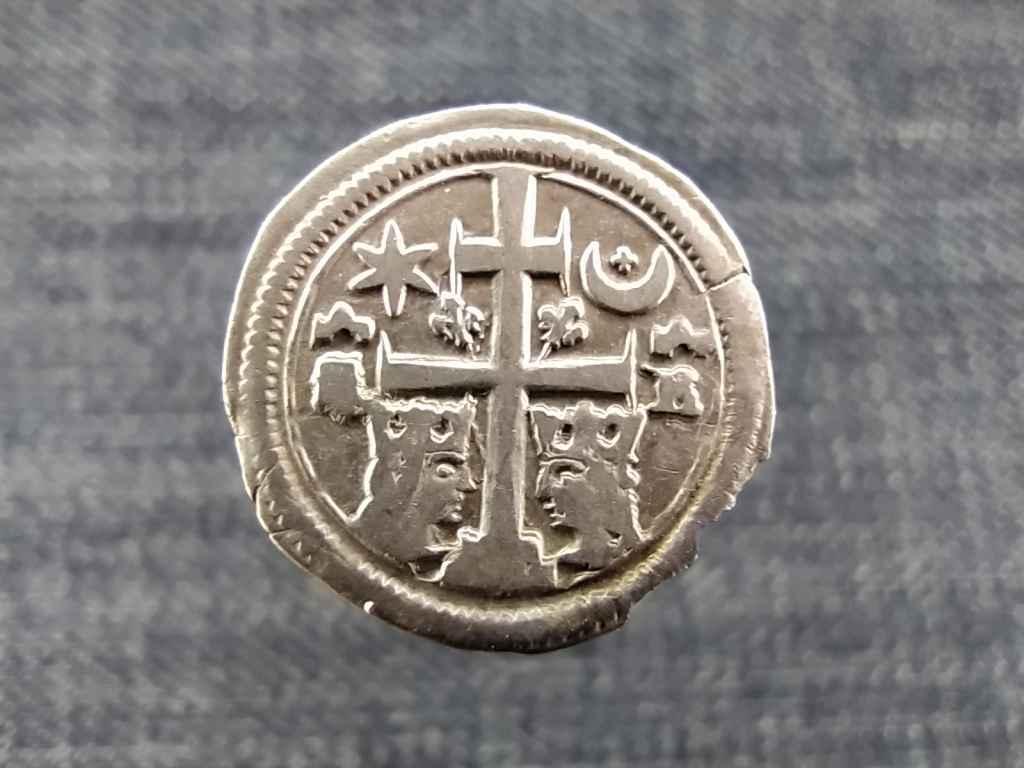V. István (1270-1272) Szlavón ezüst 1 Dénár SZ 12 NAGYON RITKA FÉLHOLDBAN KERESZT