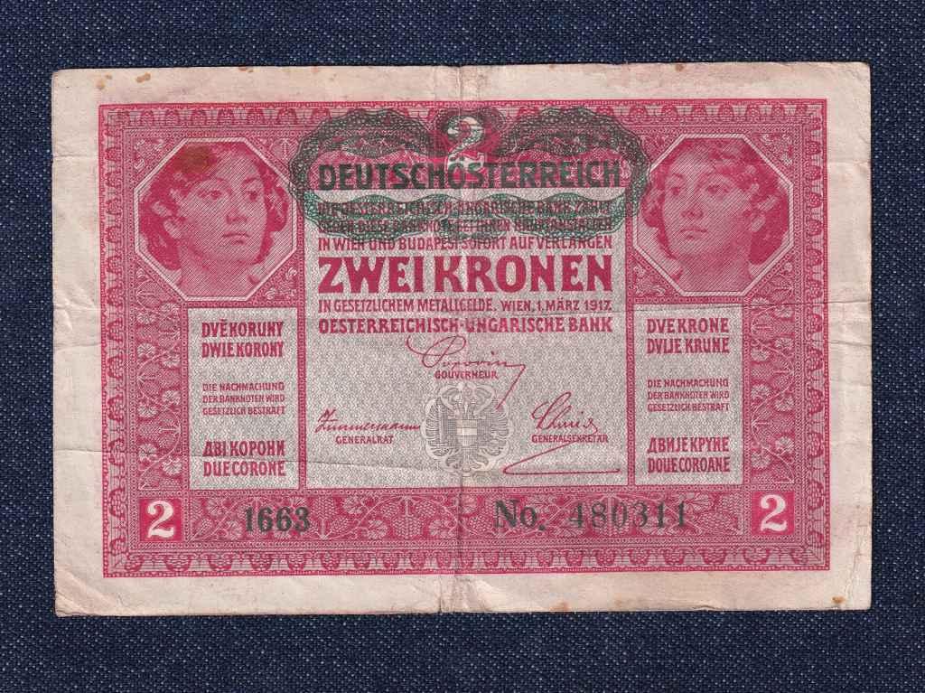 Osztrák-Magyar (háború alatt) 2 Korona bankjegy 1917 felülbélyegzett
