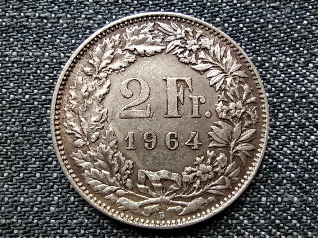 Svájc .835 ezüst 2 Frank 1964 B