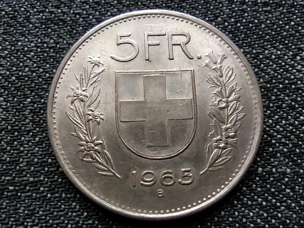 Svájc .835 ezüst 5 Frank 1965 B