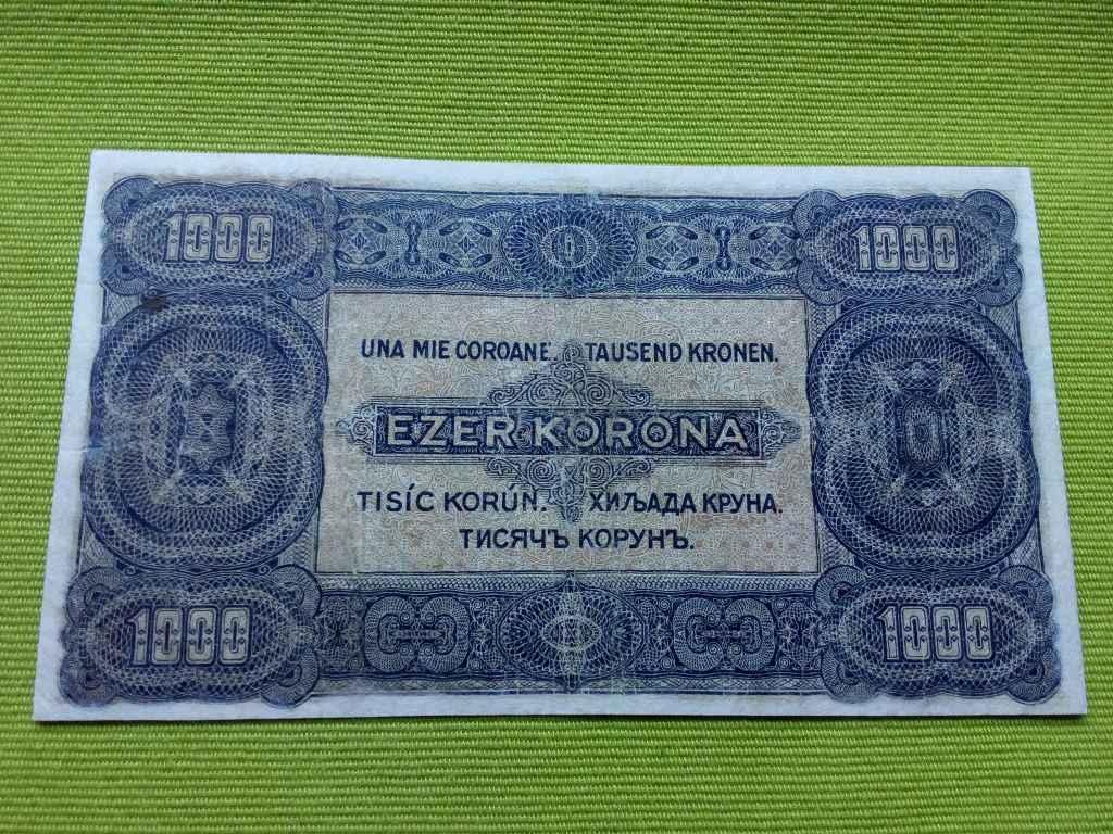 Ezer korona 8 fillér felülbélyegzéssel 1923