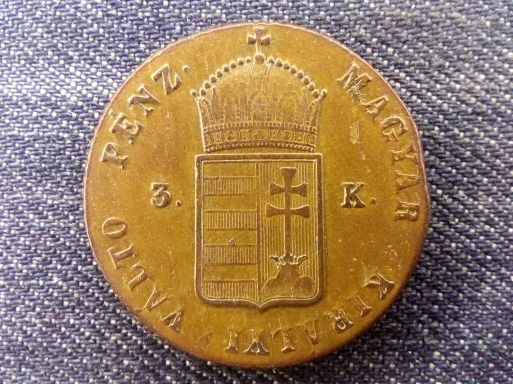 Szabadságharc 3 krajczár 1849 NB - Lapkavéges!