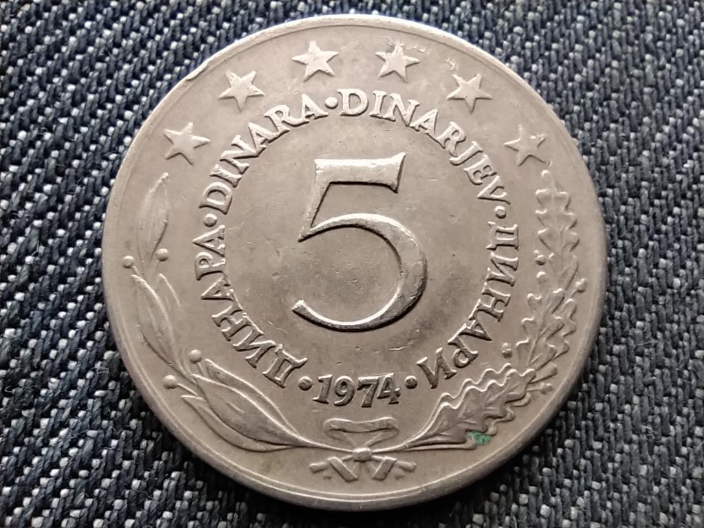 Jugoszlávia 5 Dínár 1974