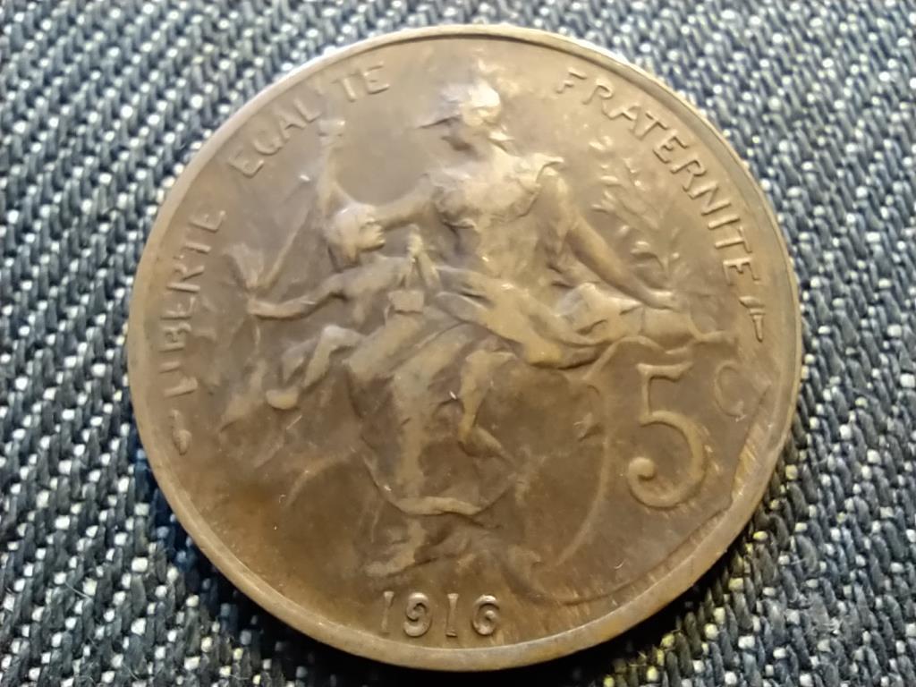 Franciaország Harmadik Köztársaság 5 Centimes 1916