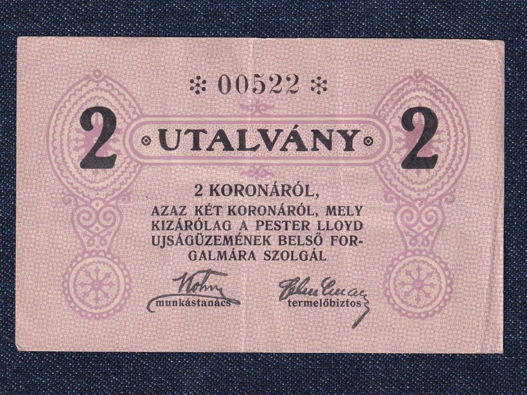 Magyarország Pester Lloyd Újságüzem 2 korona utalvány
