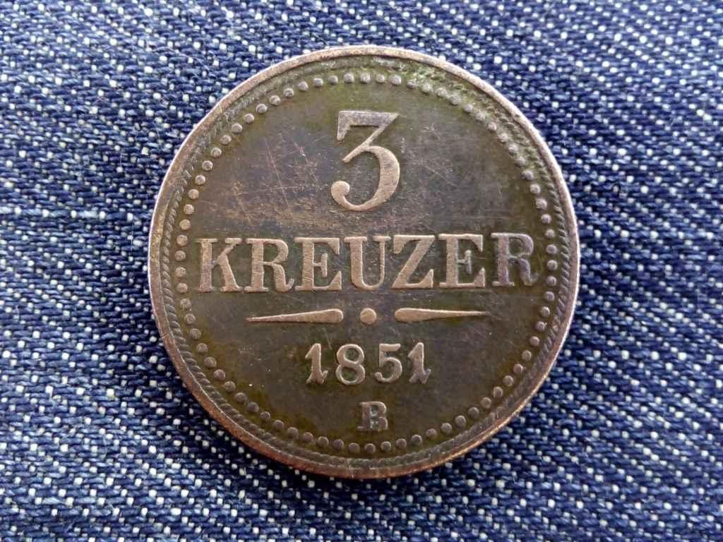 3 krajcár 1851 B