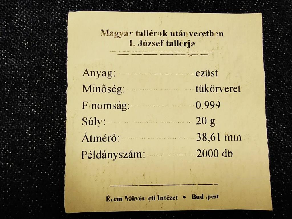 Magyar tallérok utánveretben I. József tallérja 1709 .999 ezüst PP