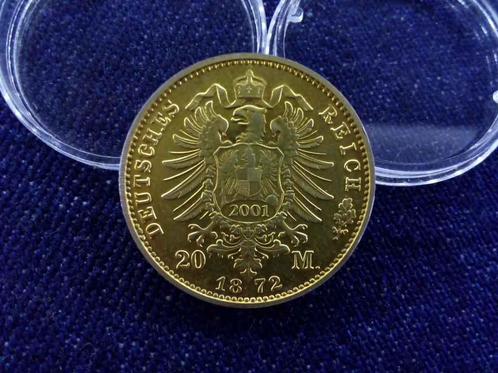 I. Ernő szász–coburg–gothai herceg 1872-es arany 20 márkájának utánverete (2001, nem arany)