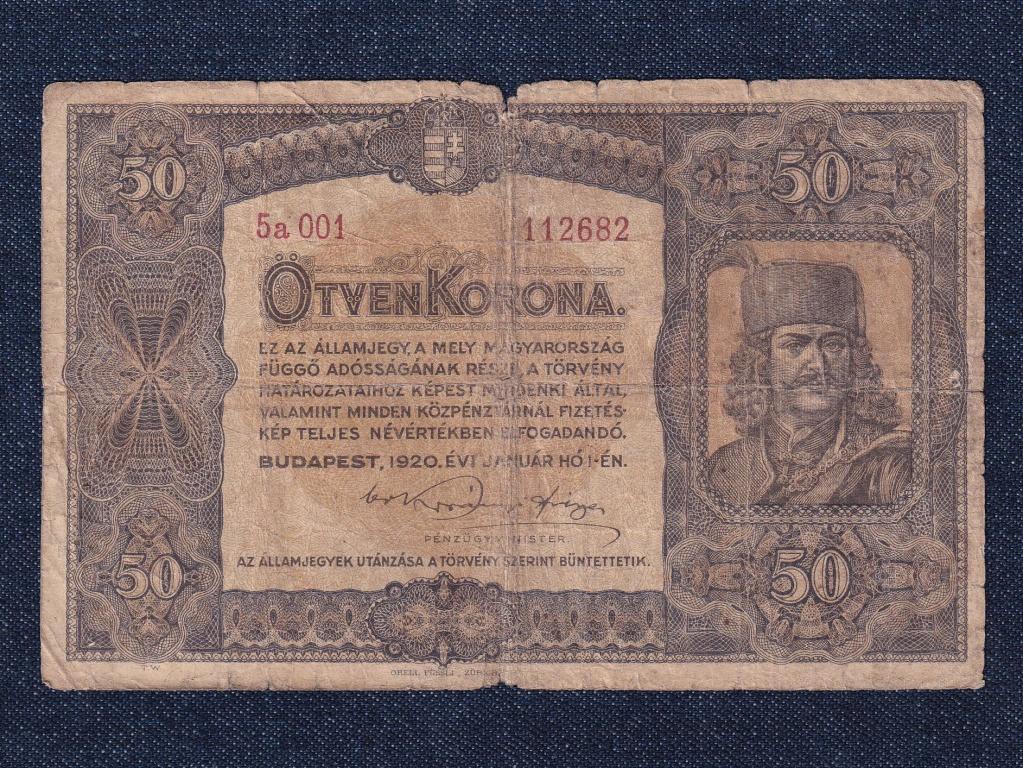 Nagyméretű Korona Államjegyek 50 Korona bankjegy 1920