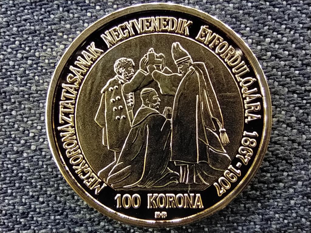 Magyar aranypénzek utánveretben Ferenc József jubileumi 100 korona .999 ezüst PP