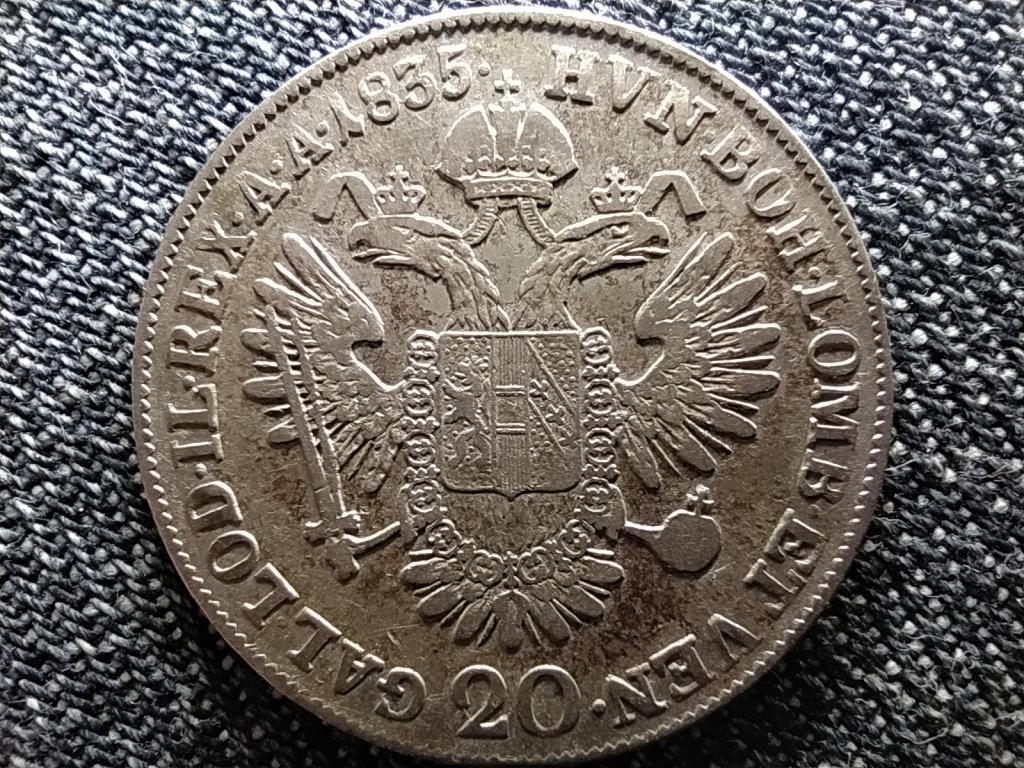 Ausztria II. Ferenc .583 ezüst 20 Krajcár 1835 C