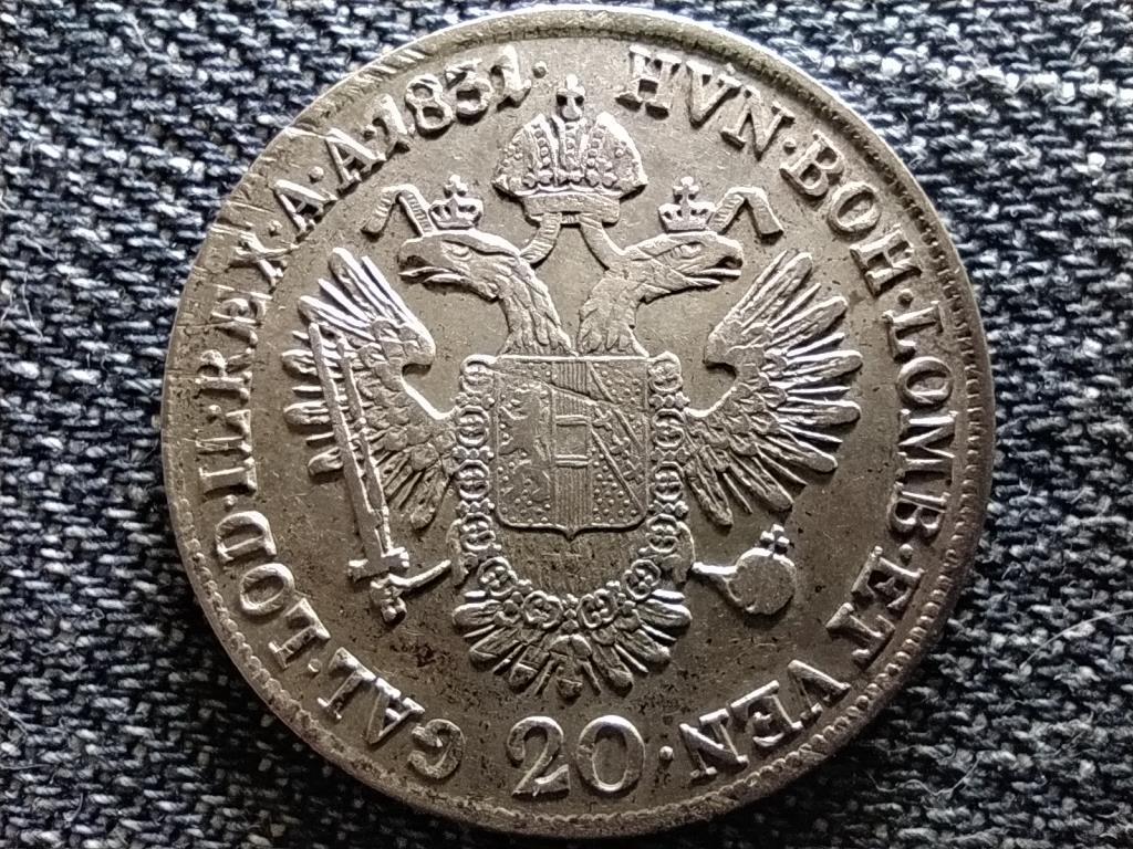 Ausztria II. Ferenc .583 ezüst 20 Krajcár 1831 A