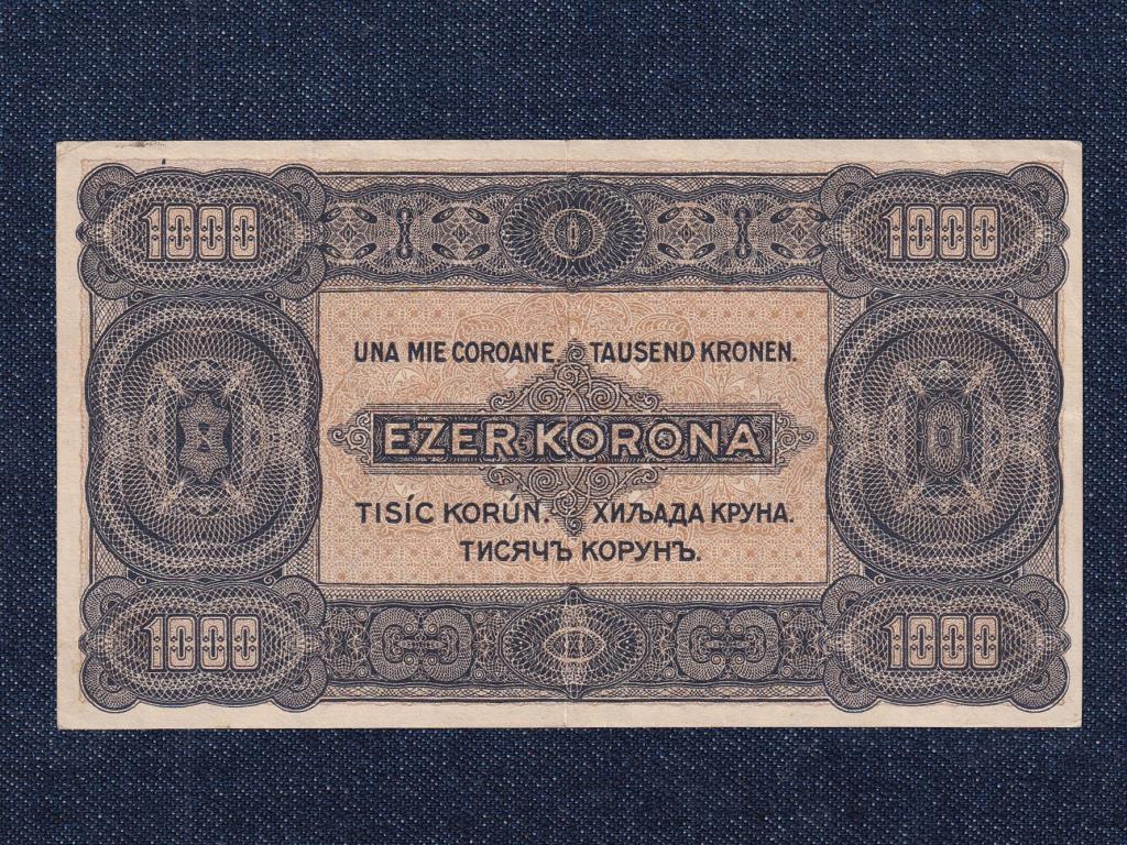Kisméretű Korona államjegyek 1000 Korona bankjegy 1923 8 fillér felülbélyegzéssel