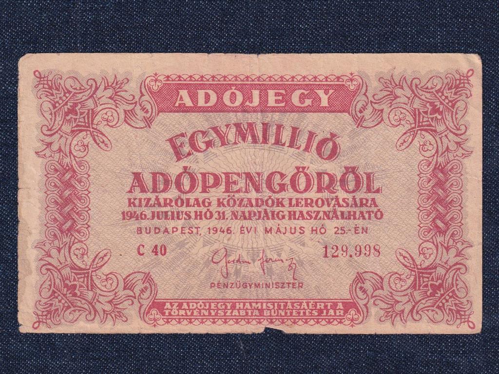 Adójegyek 1 millió Adópengő bankjegy 1946 tükrös címer a hátlapon