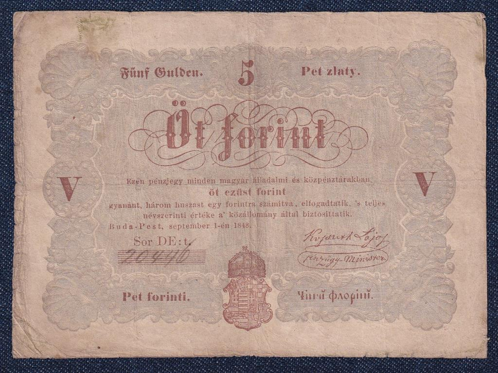 Szabadságharc (1848-1849) Kossuth bankó 5 Forint bankjegy 1848 barna nyomat