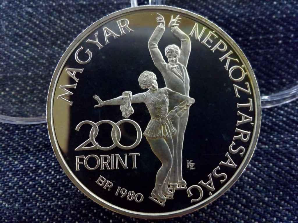 Ritkább, vastag Lake Placid ezüst 200 Forint 1980