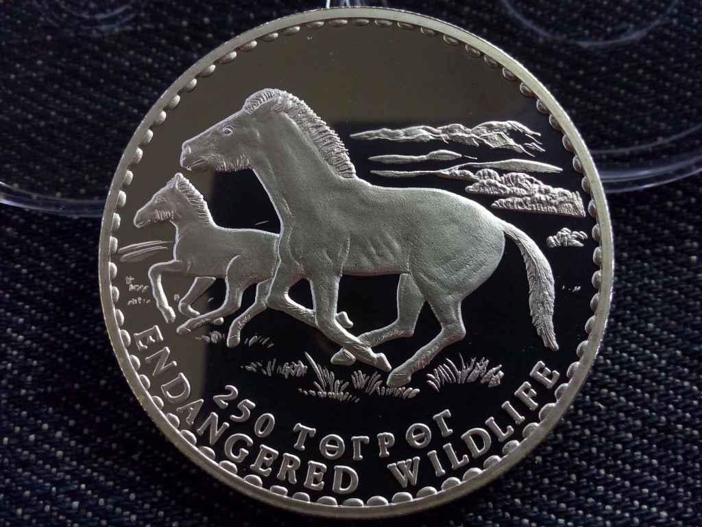 Mongólia, veszélyeztetett állatvilág - Ló, ezüst 250 Terper 1992