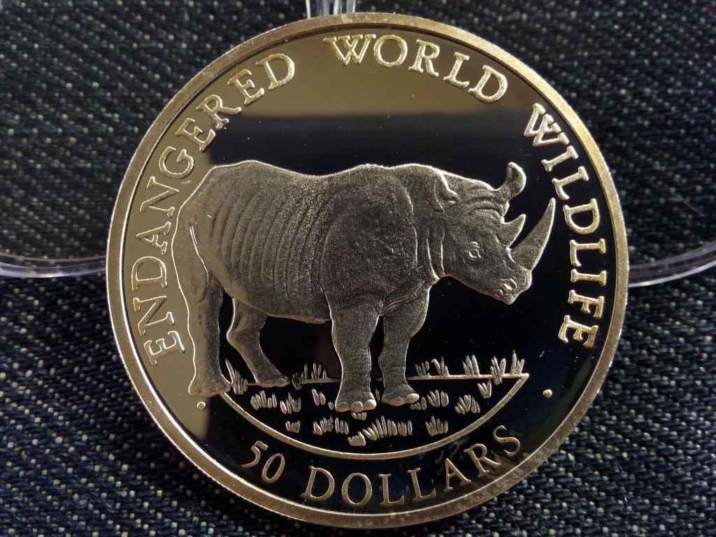 Cook szigetek - Orrszarvú ezüst 50 Dollár 1990 PP