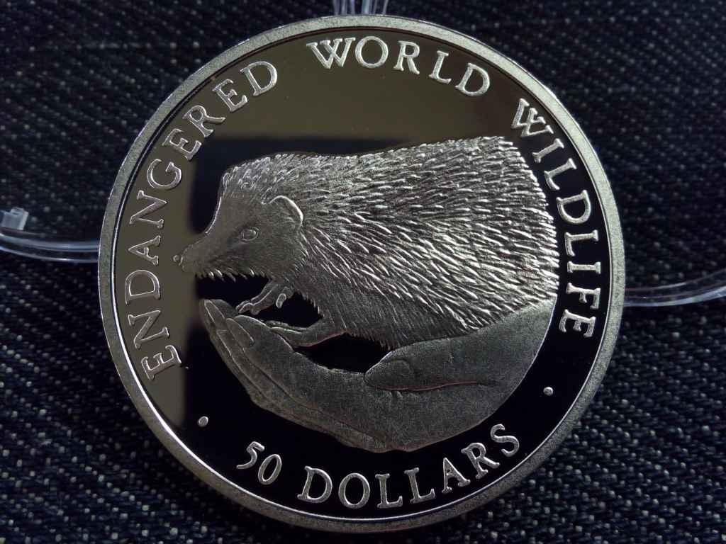 Cook szigetek - Süni ezüst 50 Dollár 1990 PP