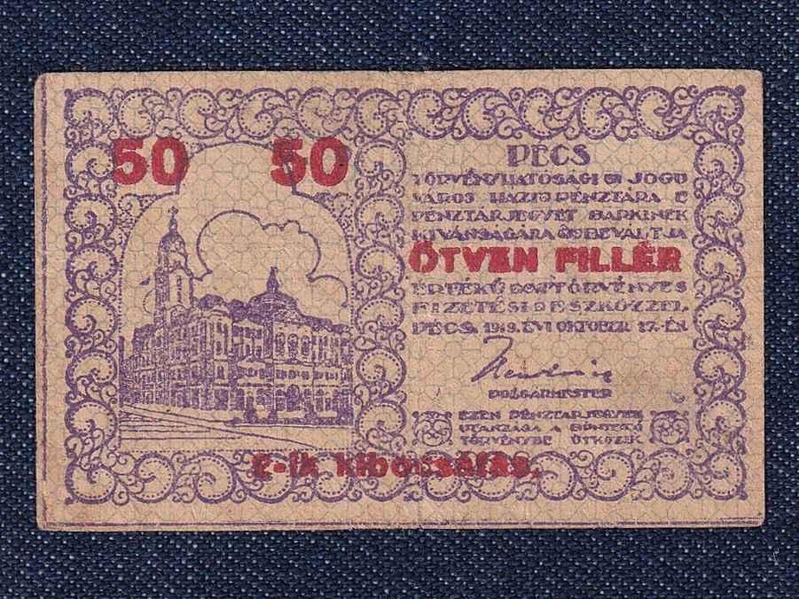 Pécs város 50 fillér 1919