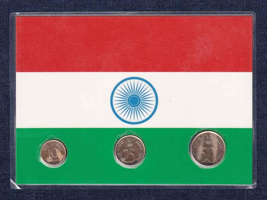 India - 10, 25, 50 paise UNC díszcsomagolásban