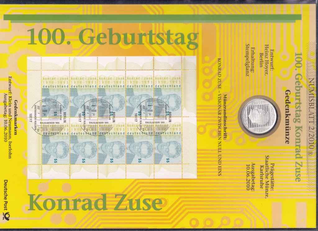 Németország 100 éve született Konrad Zuse .925 ezüst 10 Euro + Bélyeg 2010 G PP