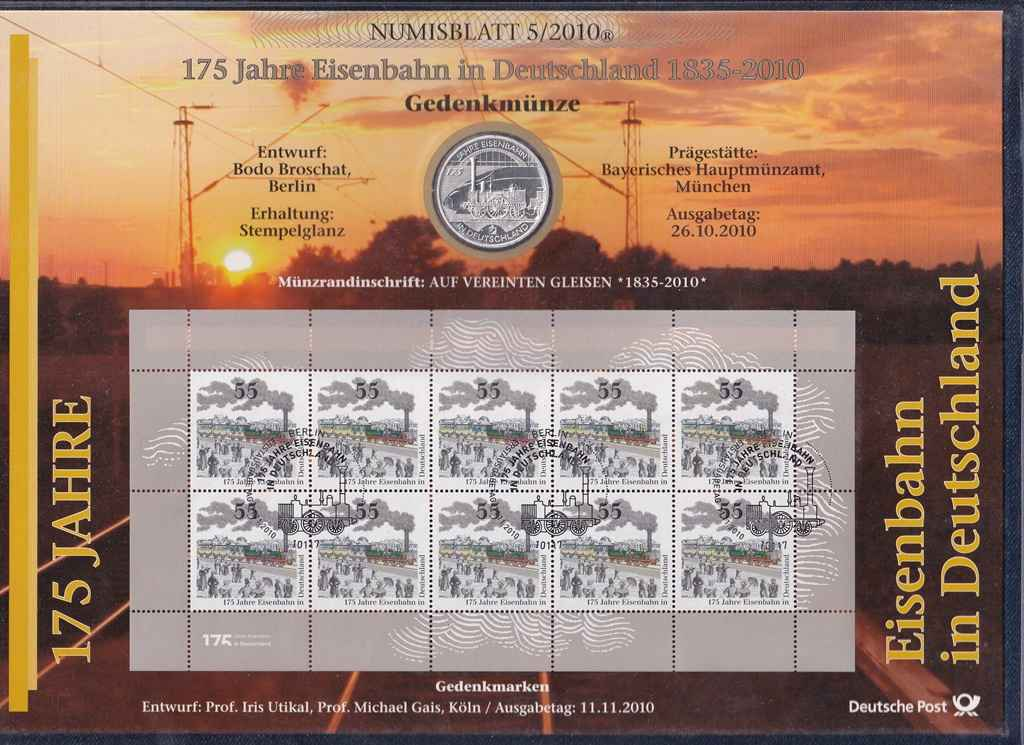 Németország 175 éves a Vasút .925 ezüst 10 Euro + Bélyeg 2010 D PP