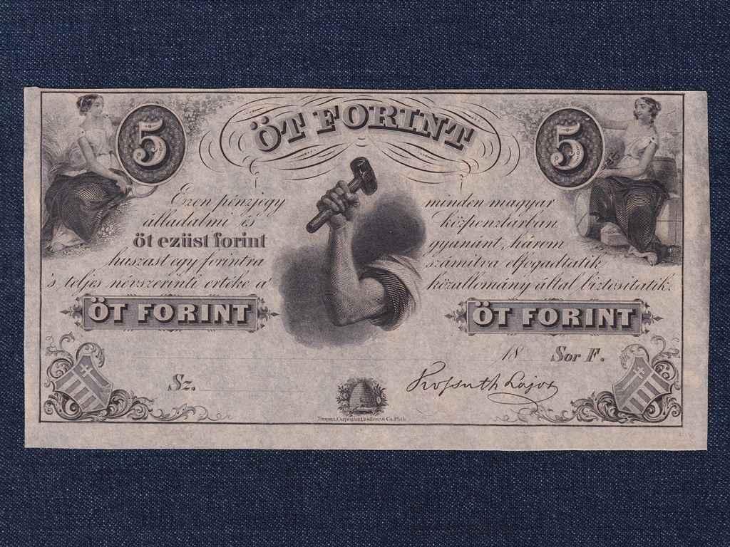 Extra szép Kossuth Lajos emigrációs 5 Forint 1852 Sor F Philadelphia, tökéletes UNC